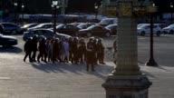 Protesters under arrest at Place de la Concorde in Paris France after the protest against the labor reform