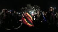 Protestors and LGBT activists dance during a rally organized by the group 'WERK for Peace' outside the Trump International Hotel February 3 2017 in...