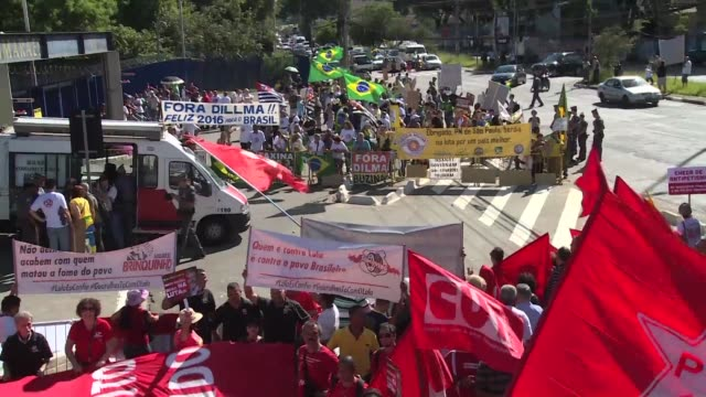Protestors clashed in Sao Paulo on Wednesday after authorities suspended a hearing where Brazilian ex president Luiz Inacio Lula da Silva had been...