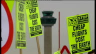 Protestors demonstrate against Stansted Airport expansion Protestros carrying banners reading 'Save Hatfield Forest' 'Stop Bristol Airport Expansion'...