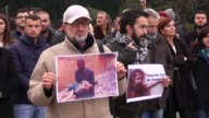 Protestors gather in front of the United Nations office stage a protest against Assad regime forces' and its supporters' attacks on civilians and the...