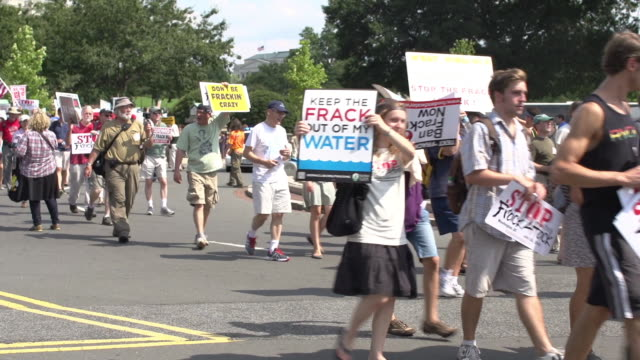 Protestors March Against Fracking at US Capitol on July 28 2012 in Washington DC
