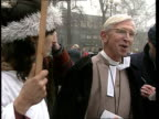 Protests at Coventry cathedral celebration of the car ENGLAND Coventry Cathedral MS Church provost Very Rev John Petty talking to protesters LA MS...