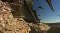 CGI, MS, TU, Pterosaurses resting on rocks