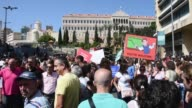 Public sector employees stage a protest outside the government building in Beirut Lebanon on September 26 2017 Lebanon's civil servants are on strike...