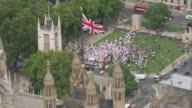 TUC warns government against 'cherrypicking' police and prison officers for pay rises AIR VIEW Protesters outside Parliament