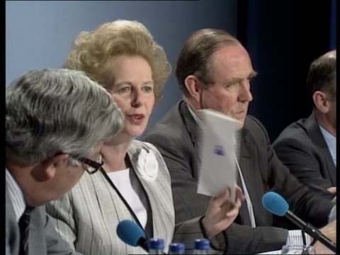 Public spending targets ITN LIB Nottingham Margaret Thatcher speaking at Euro election pkf Foreign Sec Sir Geoffrey Howe Party Chmn Peter Brooke...