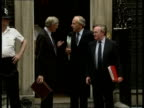 Public spending targets No 10 MS Energy Sec Cecil Parkinson Agriculture Minister John MacGregor Trade Industry Sec Lord Young from doorway chat MS...