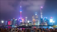 T/L ZI Pudong skyline at night, Shanghai, China