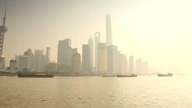 Pudong Skyline Panorama in Shanghai China