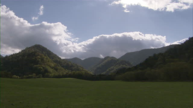 T/L WS Puffy clouds moving fast over green mountain meadow / Sapporo, Hokkaido, Japan