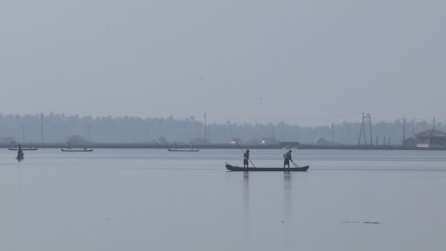 Pull Back Shot Fihermen Backwaters Cochin Kerala India