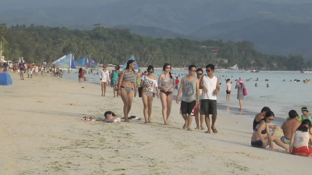 Pull Back Shot People at Beach Boracay Aklan Philippines