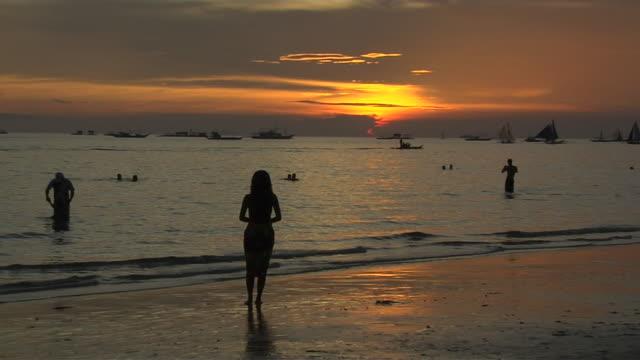 Pull Back Shot Sunset at Sea Boracay Aklan Philippines
