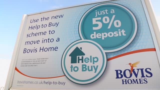Pull Focus Shot billboard advertising local new homes New houses on a development in Paulton south of Bristol