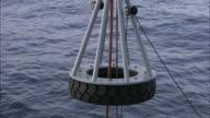 Pulleys hoist up a small submarine.