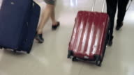 Pulling the luggage at the airport