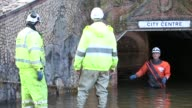 Pumping out floodwater from Hardwicke Circus in Carlisle Cumbria on Tuesday 8th December 2015 after torrential rain from storm Desmond The storm set...