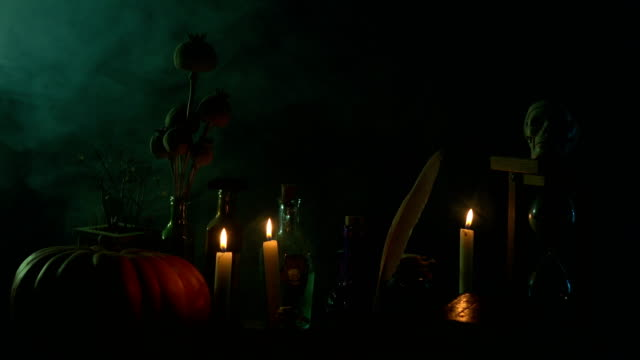 Pumpkin, Poison Bottle, Dead Insects, Candles, Human Skull and Magic Book For Halloween