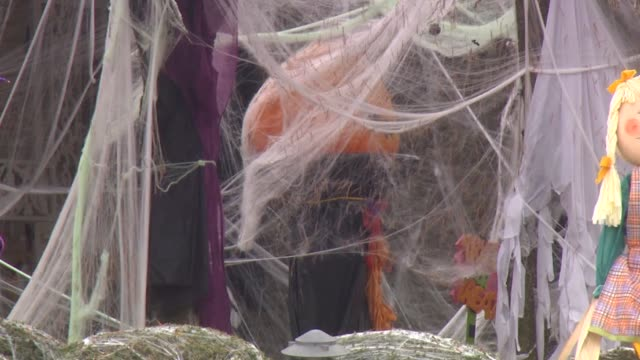 Pumpkins And Cobweb Halloween Decorations on October 31 2013 in Chicago Illinois