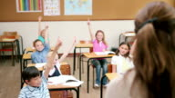 Pupils raising their fingers in front of the teacher