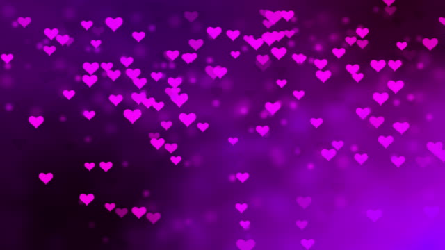 4K Purple Heart-Shaped Particles Flying - Loopable