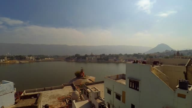 Pushkar 'Sarovar' or the holy lake, panning wide shit