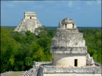 Pyramid of Kukulkan against blue sky trees in foreground zoom out to beautiful view of Mayan ruins Chichen Itza