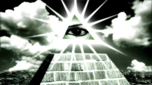 pyramid with an eye on the tip, a dollar sign
