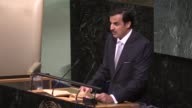 Qatari Emir Sheikh Tamim bin Hamad alThani addresses the 72nd United Nations General Assembly at UN headquarters in New York USA on September 19 2017