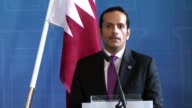 Qatari Foreign Minister Mohammed bin Abdulrahman alThani holds a joint press conference with his Swedish counterpart Margot Wallstrom in Stockholm...