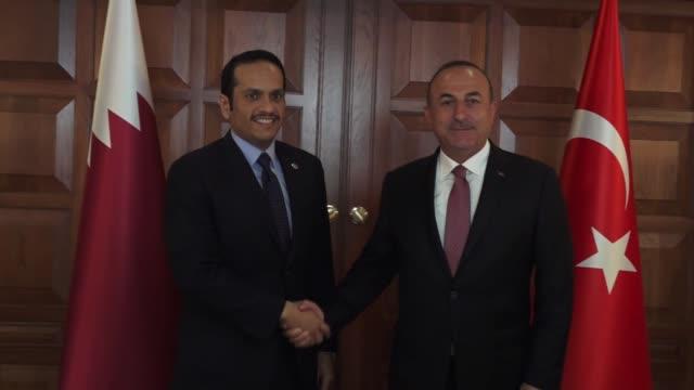 Qatari Foreign Minister Sheikh Mohammed bin Abdulrahman alThani meets with Turkish Foreign Minister Mevlut Cavusoglu in Ankara Turkey on October 23...