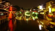 Qibao, Ancient Town, Timelapse Zoom in Bridge at night,  lights, canal, boats, bridge, Shanghai, China