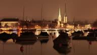 Quaibruecke at night across Lake Zurich