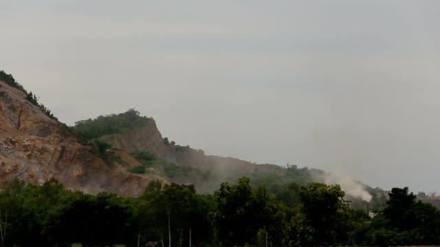Quarrying industry is producing. chimney emissions.