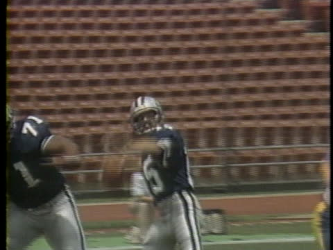 1983 WS PAN Quarterback Mike Rae of USFL team Los Angeles Express throwing pass to Jo Jo Townsell, who then catches ball during game against Arizona Wranglers / USA