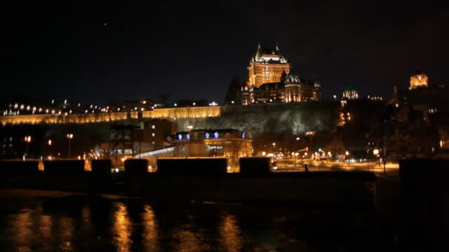 Quebec city in the dusk, view from the river