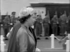 Queen and Duke arrive on a two day visit to Jersey CHANNEL ISLANDS Jersey EXT Royal barge arrives Prince Philip stands and waves / Crowds on hotel...