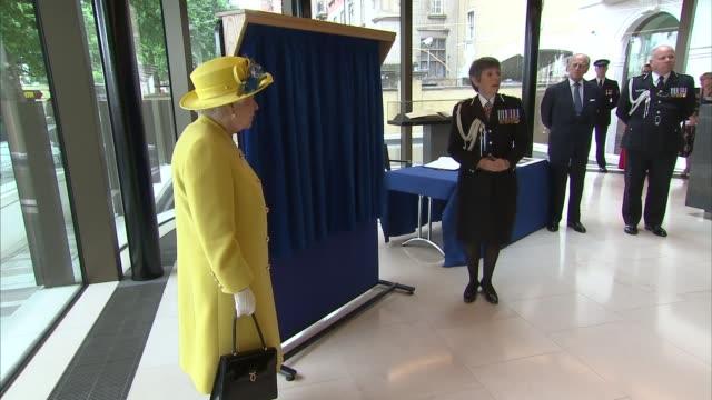 Queen and Duke of Edinburgh visit New Scotland Yard building Queen Elizabeth II and Cressida Dick towards Cressida Dick speech SOT Queen unveils...