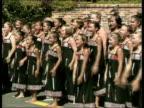 Queen and Prince Philip Collection 4 T25020207 Jubilee tour New Zealand Maori dancers in Wellington Queen wearing fur cloak through crowds Queen at...