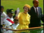 Queen and Prince Philip Collection 7 133288 Trinidad Queen Elizabeth II camera pans from right to left as she waves from vehicle