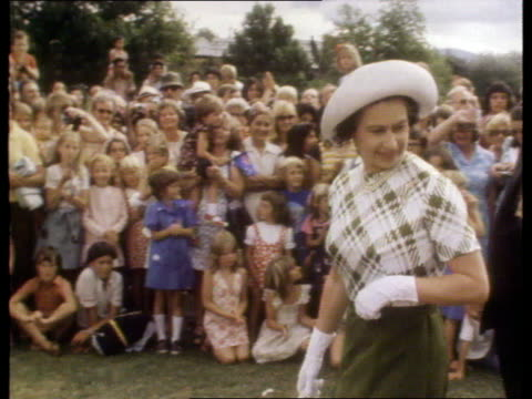 Queen and Prince Philip Collection 7 T26027701 26277 Jubilee Tour to New Zealand Rotorua Queen Elizabeth II walking with crowds in background Queen...