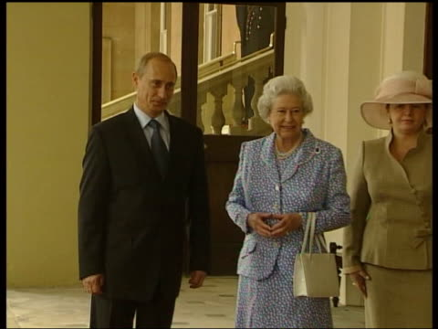 Queen and Prince Philip Collection 8 9520/02 2762003 Russian President Putin departure at end of his State Visit London Buckingham Palace Putin and...