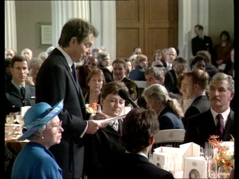 Golden wedding anniversary Mansion House Tony Blair speech at banquet Talks of his early memories of the Queen Banquet Blair speaking Blair speech...