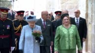 Queen arrives in Malta ***BEWARE Queen and Marie Louise Coleiro Preca along and into building accompanied by Guard of Honour