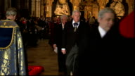 Queen attends Commonwealth Day Observance at Westminster Abbey ENGLAND London Westminster Abbey PHOTOGRAPHY*** **Music heard SOT** Flag bearers along...