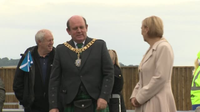 Queen attends Queensferry Crossing Inauguration SCOTLAND Edinburgh Firth of Forth Queensferry Crossing EXT GVs bagpipe players / AIR VIEWS...