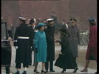 Queen attends unveiling of Lord Mountbatten statue C4N London Houseguard Parade Raining LMS The Queen arriving and out of car ZOOM as PM Thatcher and...