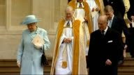 Queen Duke attend memorial service for Order of the Garter ENGLAND Berkshire Windsor St George's Chapel EXT Roof of St George's chapel Heraldic lion...