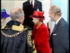 Queen Elizabeth and The Duke of Edinburgh's Golden Wedding Anniversary ITN London Guild Hall Queen Elizabeth II Prince Philip greeting Lord Mayor of...